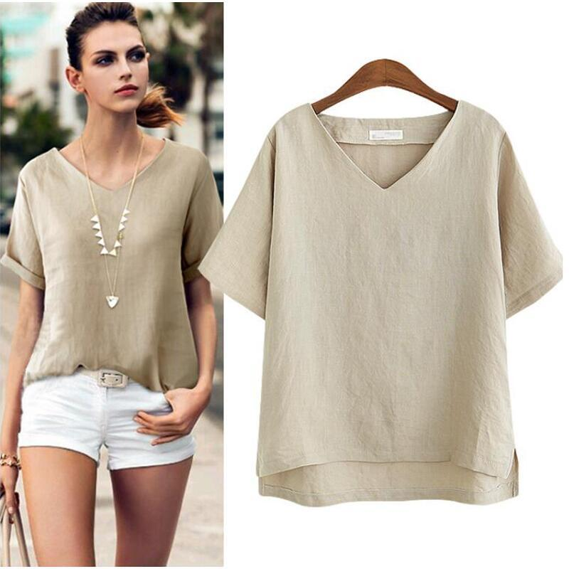 4e0a26d59d6 2019 Women Blouses 2018 Summer Fashion Cotton Linen Blouse Women Tops Short  Sleeve Casual Loose Office Shirt Blusas Plus Size 5XL From Eggplant18
