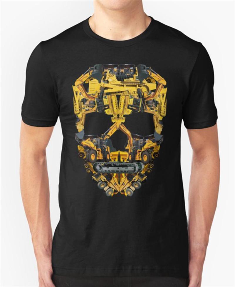 1560af52 Random T Shirts Skull Construction Men'S Novelty Short O Neck Tees ...