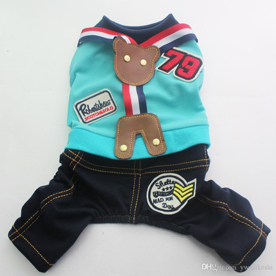 Pet Dog Shirts Sweater Pants Bear Design Cat Puppy Jumpsuit Overalls T-Shirt Jacket Spring/Summer Outfits Clothes