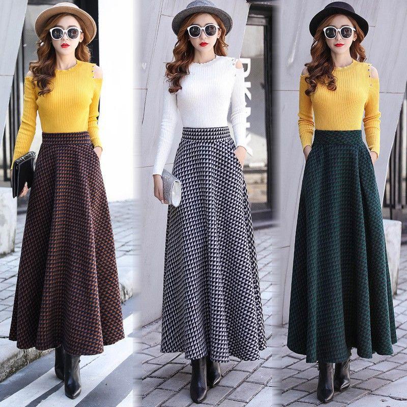 951ff47a3b 2019 Women Christmas Autumn Winter Dress Boho Plaid Print Long Maxi Dress  Ladies Casual Dress Fashion Winter Wool A Line Skirt From Fashionfirst, ...