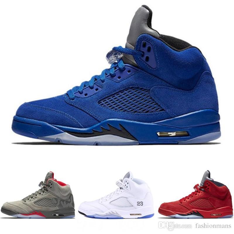reputable site eb8e8 13d31 Acheter Air Jordan 5 Chaussures Haute Qualité Avec Boîte 5 5s Noir  Métallisé Noir Grape Oreo De Basket Ball Hommes 5s Rouge Suede CDP Blanc  Ciment Baskets ...