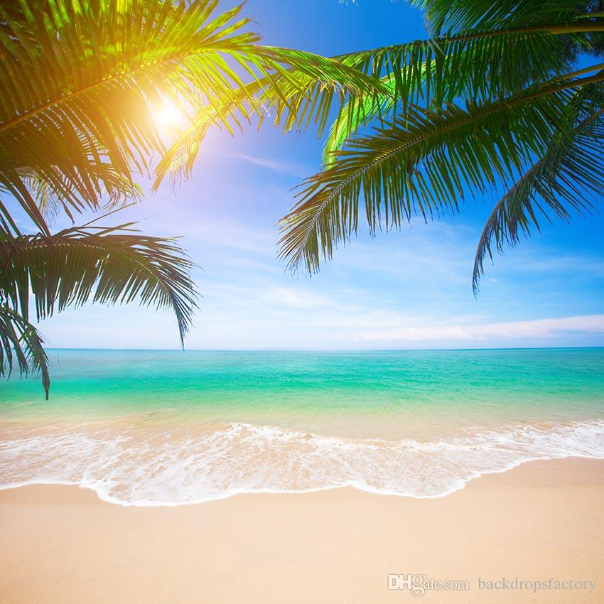 Exotic Beach: 2019 Tropical Beach Photography Backdrop Green Palm Tree