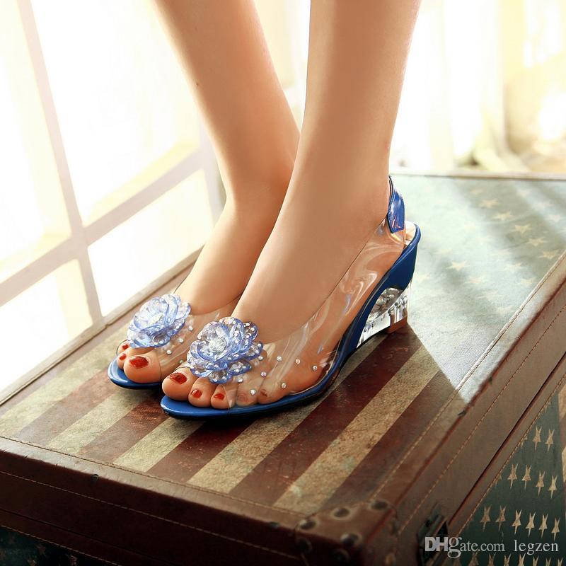 Legzen Hot Sale Women High Heels Wedges Pumps PVC Open Toe Wedges Pumps Sexy Shoes Woman Black Blue Red Yellow Beige US Size 4-8.5
