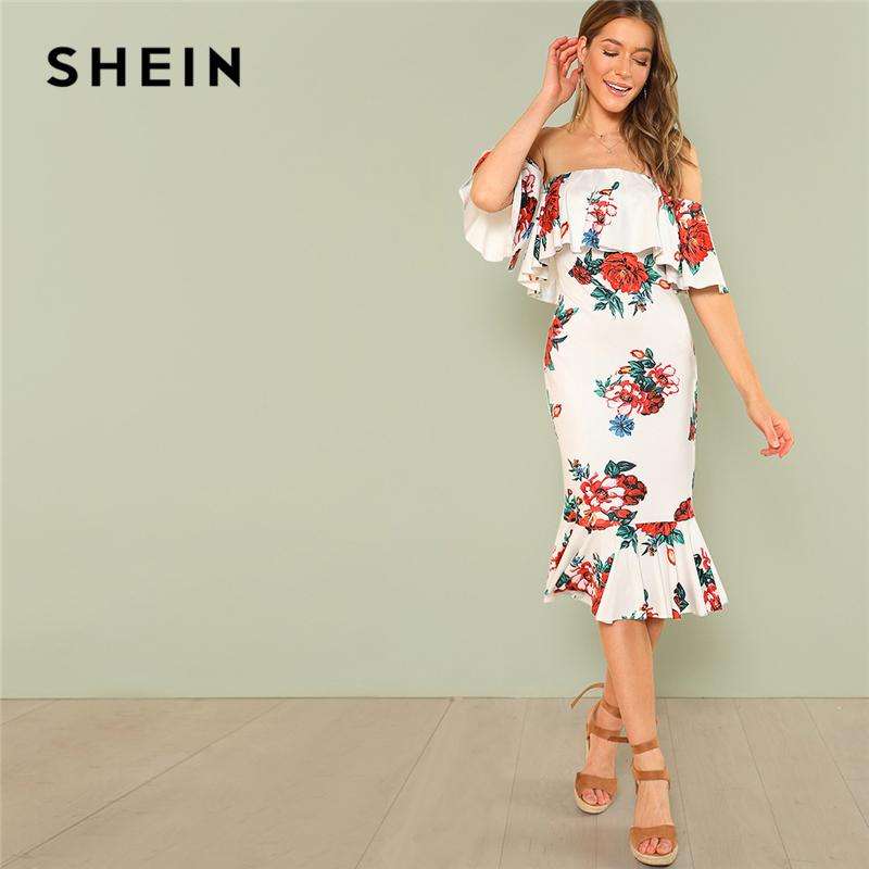 121233338c 20187 SHEIN Multicolor Party Flounce Layered Neck Floral Print Off the  Shoulder Ruffle Short Sleeve Dress Summer Women Going Out Dress High  Quality Dresses ...
