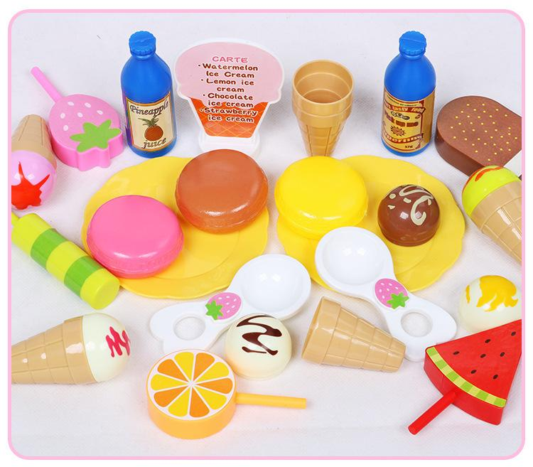 2018 Rushed Hot Sale 3-4 Years Multicolor Plastic Guangdong Shantou Ice Cream Dessert Combination Suit Children Mini for Intelligence Toys