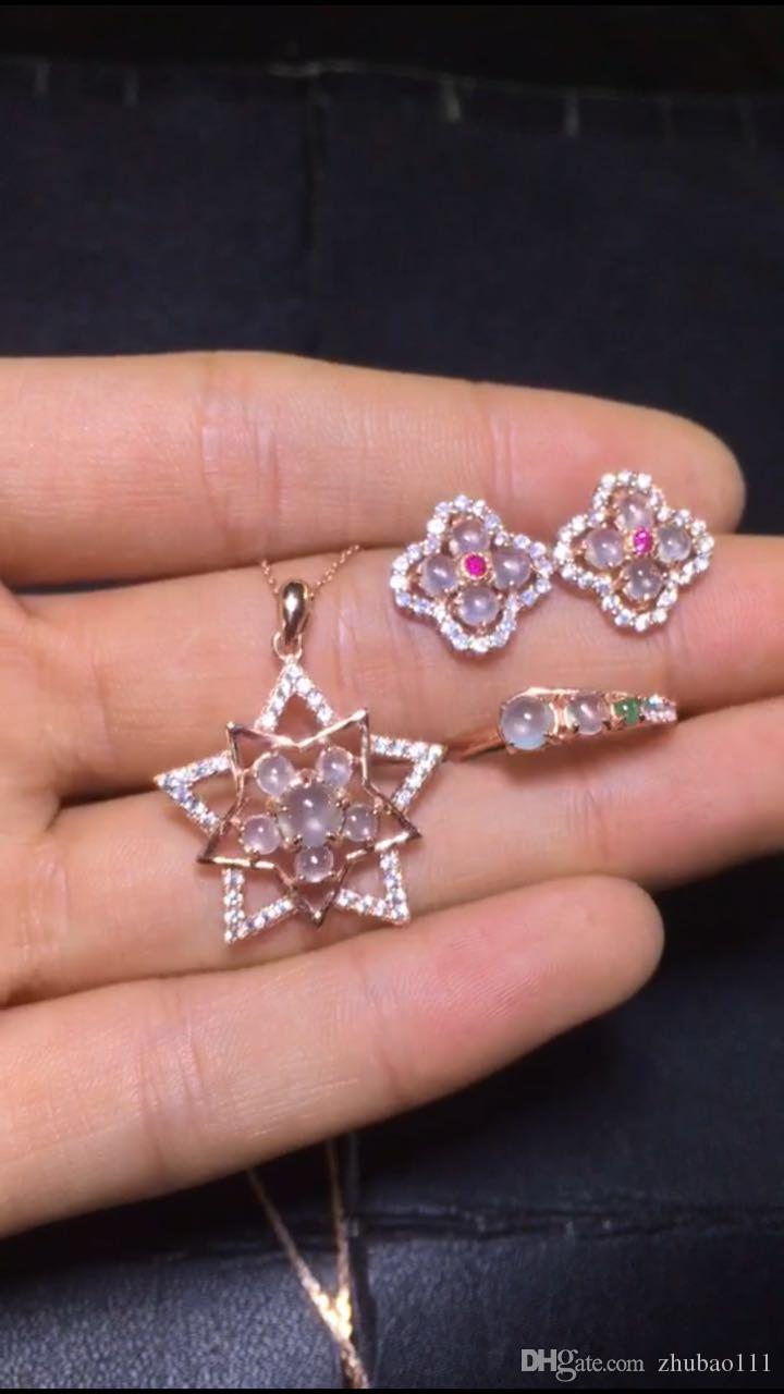 2018 Natural Myanmar Emerald Set 925 Silver Inlaid Pendant, Earrings ...