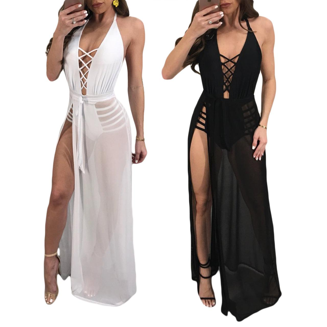 a369d5e174 2019 Women Sexy Halter Bandage Dresses Mesh Perspective Lace Up Deep V Neck  Backless High Split Club Party Beach Maxi Dress Covers Up From  Chenyuanfang
