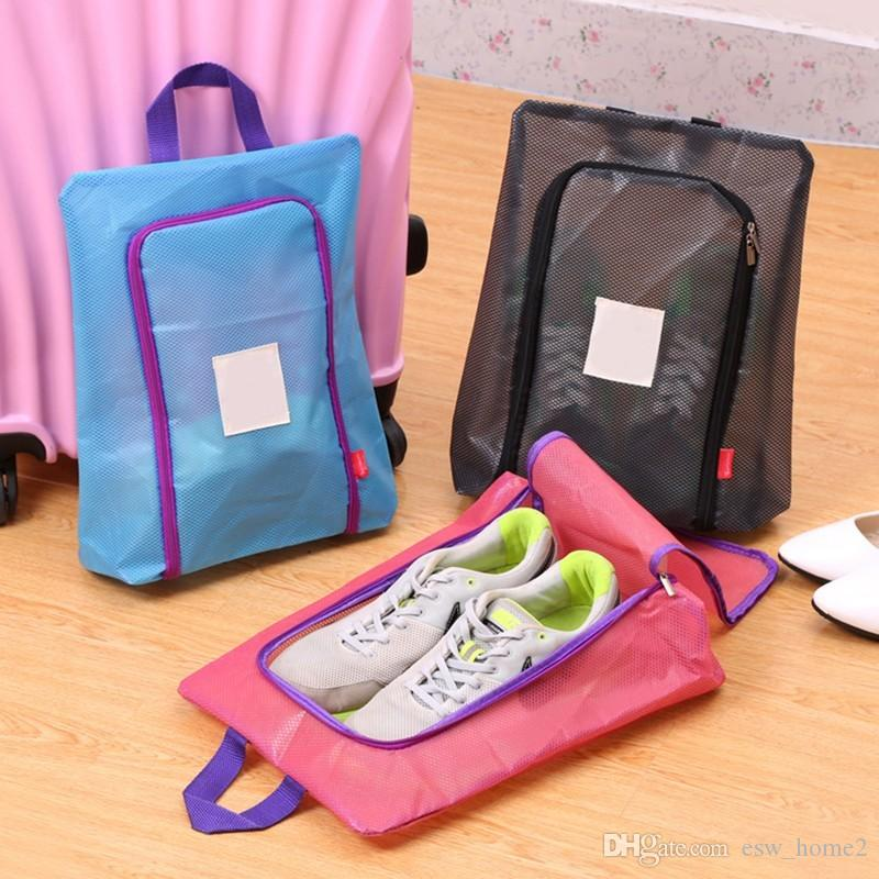 New Travel Shoes Bag Travel Portable Shoes Tote Dry Shoes Organizer Underwear Clothes Laundry Case Pouch With Breathable Mesh Storage Bags