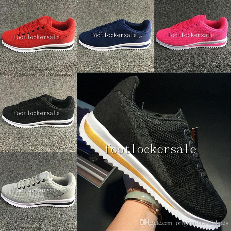 online retailer ca749 6260a Classic Cortez Basic Leather Casual Shoes Hombres De Moda Baratos Mujeres Negro  Blanco Rojo Golden Skateboarding Sneakers Tamaño 36 45 Por ...