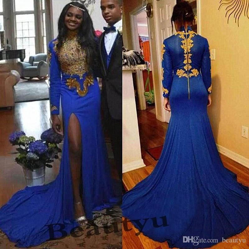 61ee8a447ca 2k18 African Royal Blue Mermaid Prom Dresses Plus Size High Neck Gold Lace  Sexy High Split 2018 Long Sleeves Elegant Evening Formal Dress Size 0 Prom  ...