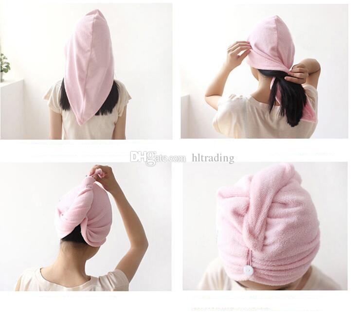 High Quality Lady thickening dry hair hat super absorbent quick-drying hair Shower cap Wrap Towel women hair cap C3669