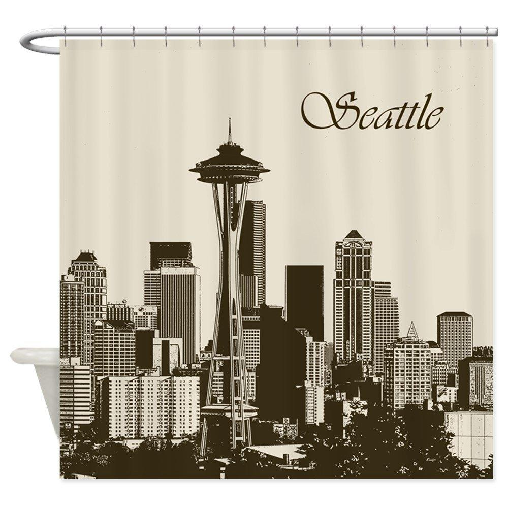 2019 Awesome Seattle Skyline Decorative Fabric Shower Curtain 69x70