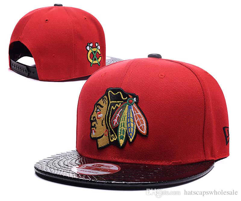 quality design 000f6 11b2b Men s Red Color Chicago Blackhawks Snapback Hat Logo Embroidery Sport NHL  Adjustable Ice Hockey Caps Flat Visor Hip Hop Baseball Hats