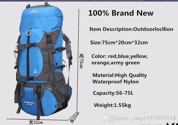 65L Professional Waterproof Nylon Mountaineering bag Outdoor Camping Hiking Backpack Travel Mochilas Rucksack Backpack 058