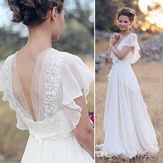 compre vestidos de novia de playa 2018 chic boho bohemio casquillo