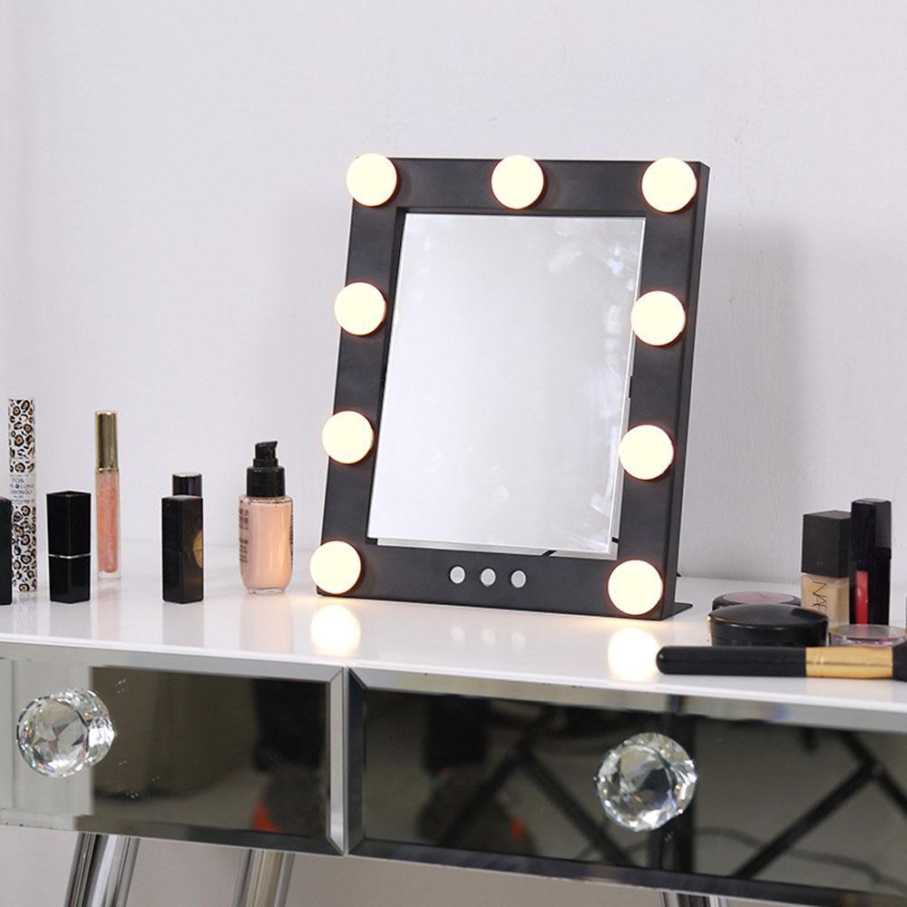 Lighted Hollywood Vanity Makeup Mirror 9 Led Bulb Lights Desktop 360