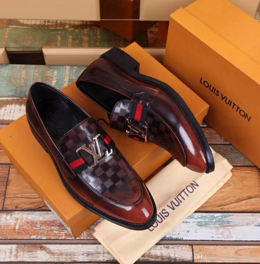 cd51dd0a0d82 Luxury Brand Shoes Hot Sale Genuine Leather Black Brown Men Flats Shoes