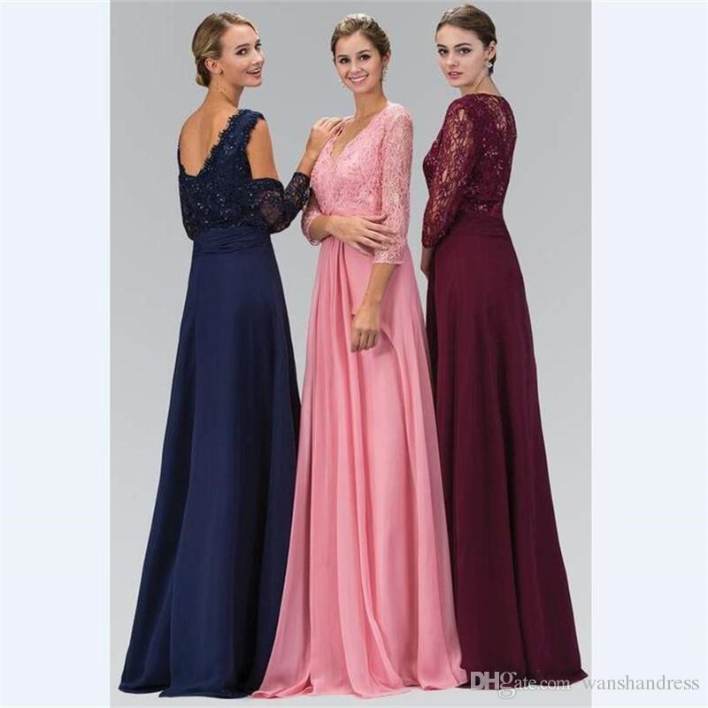 c14f493686a 2018 Wine Red Lace Long Mother S Dresses Custom 3 4 Sleeves Beaded V Neck  Mother Of The Bride Dress With Shawl Prom Gowns Shop Mother Of The Bride  Dresses ...