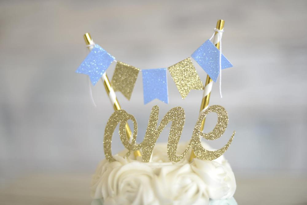 2019 Custom Numbers Golden Blue Boy One Cake Topper First Birthday ONE Smash Set And Banner From Miniatur 225
