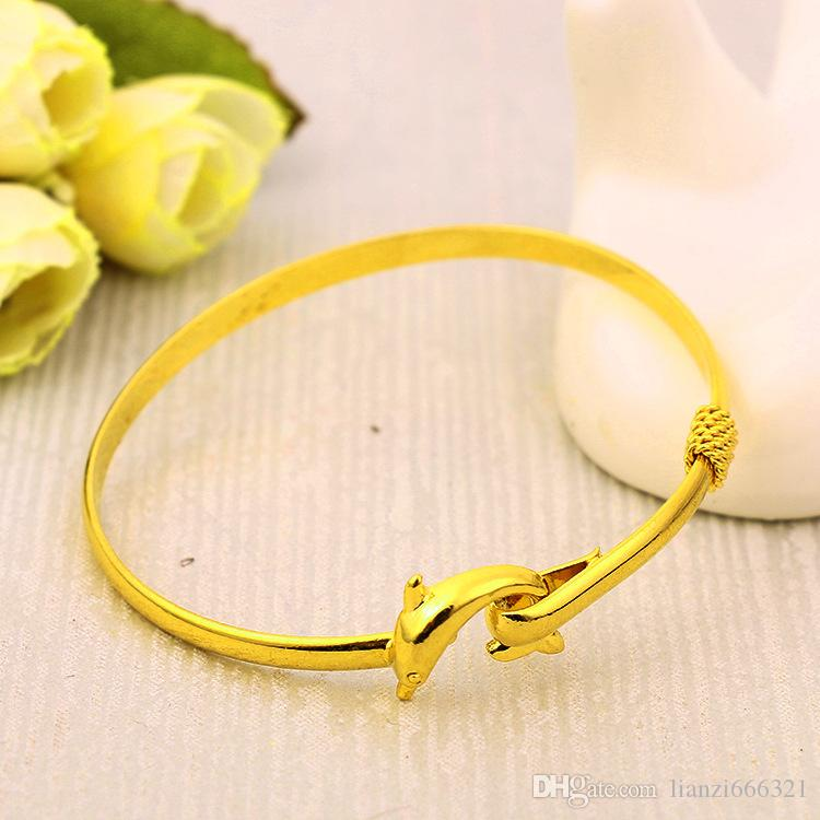 hot gift factory price Gold charm bangle Fine Noble mesh Dolphin bracelet fashion jewelry 1834