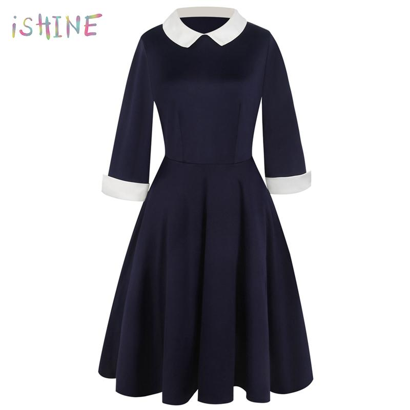 1634ae80fe8 2019 2018 Spring Preppy Style Dress Cute A Line Peter Pan Collar School  Preppy Style Dresses Casual Slim Vintage Vestidos Plus Size From Matilian