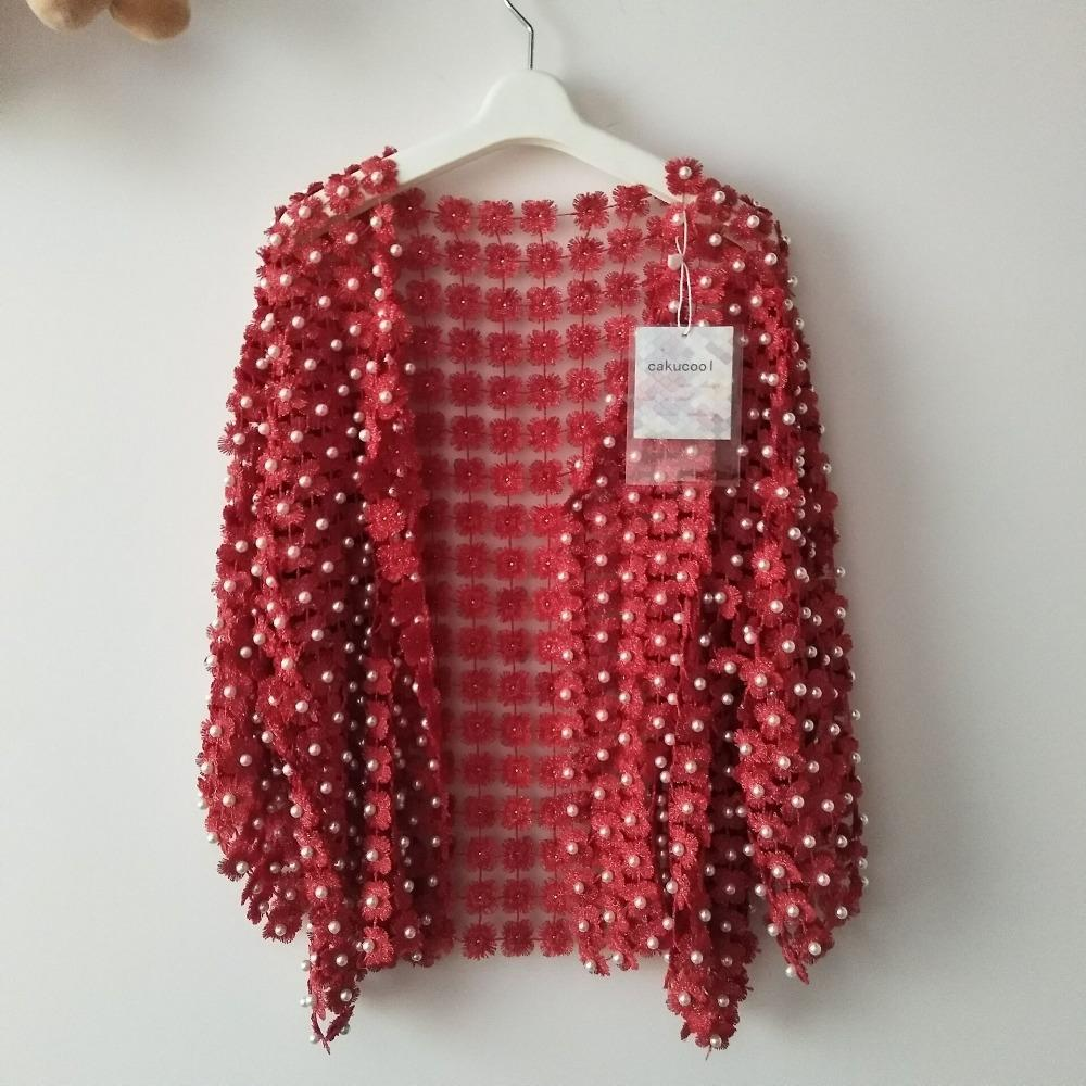 Cakucool Women Summer Sun-proof Coat Lace Hollow Out Floral Pearl Bead Open Stitch Cardigan Flare Sleeve Jacket Cappa Shawl Lady