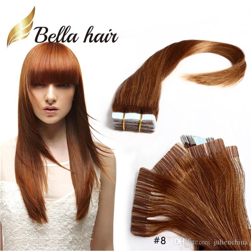 PU кожи утка ленты в наращивание волос 14 ~ 24 дюймов 100% бразильский человеческих волос 2.5 г / кусок 40 шт. / компл. Julienchina Bellahair Бесплатная доставка