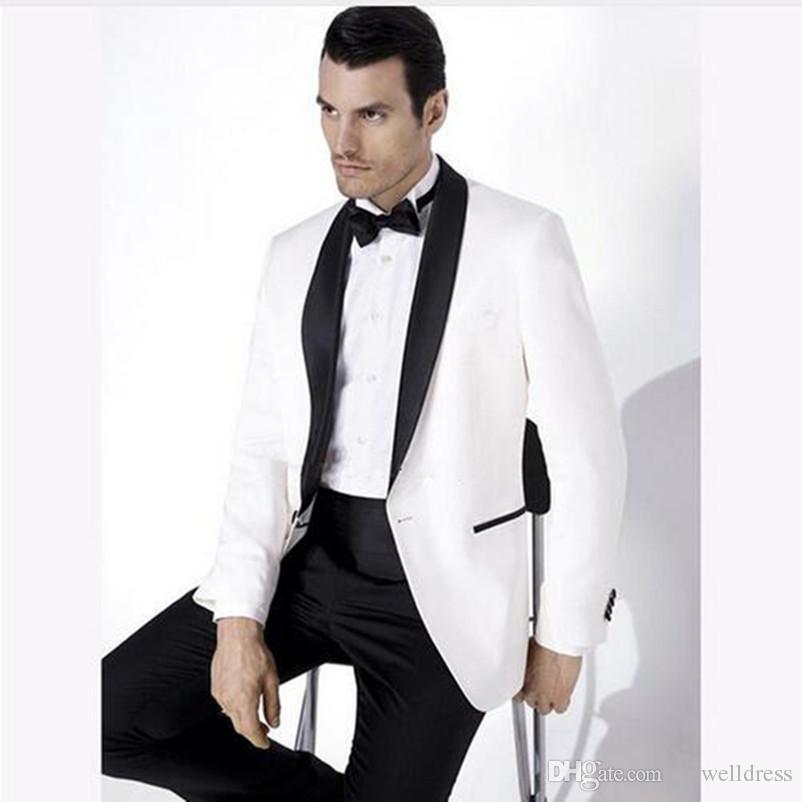 2018 White Wedding Suits For Men Shawl Black Collar Slim Fit Groomsmen Suit Mens Tuxedos  Jacket+Pants