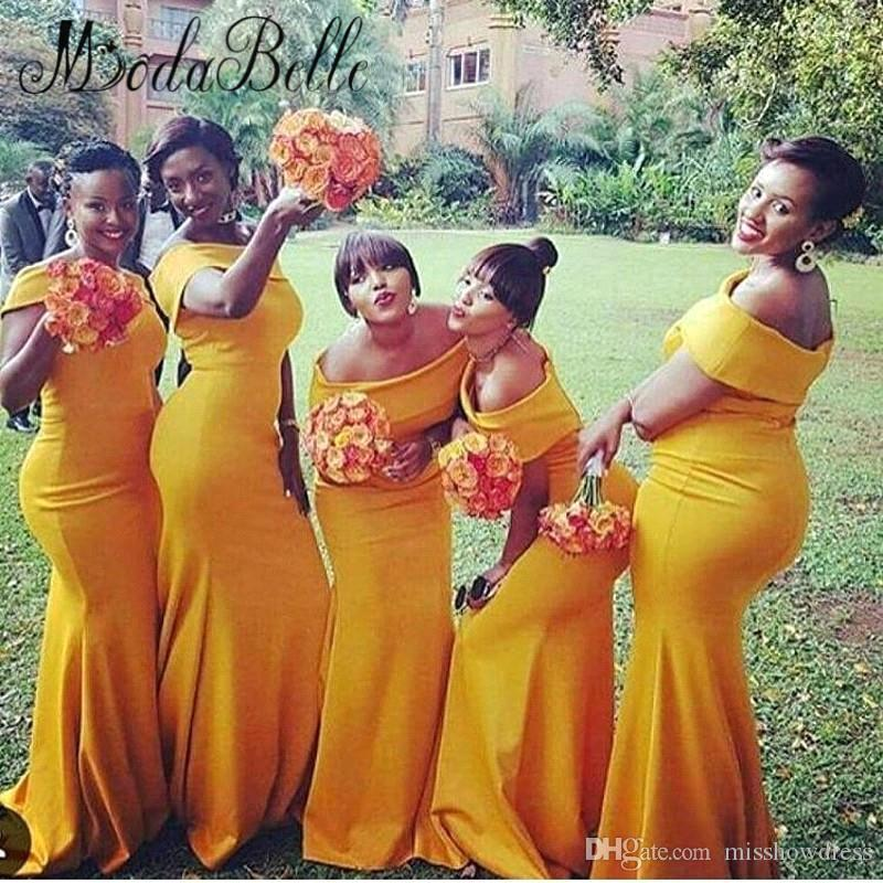 2018 Mermaid Long Bridesmaid Dresses Bateau Neck Nigeria Yellow Ruched Sweep Train Plus Size Long Evening Gowns Vestidos BA6796