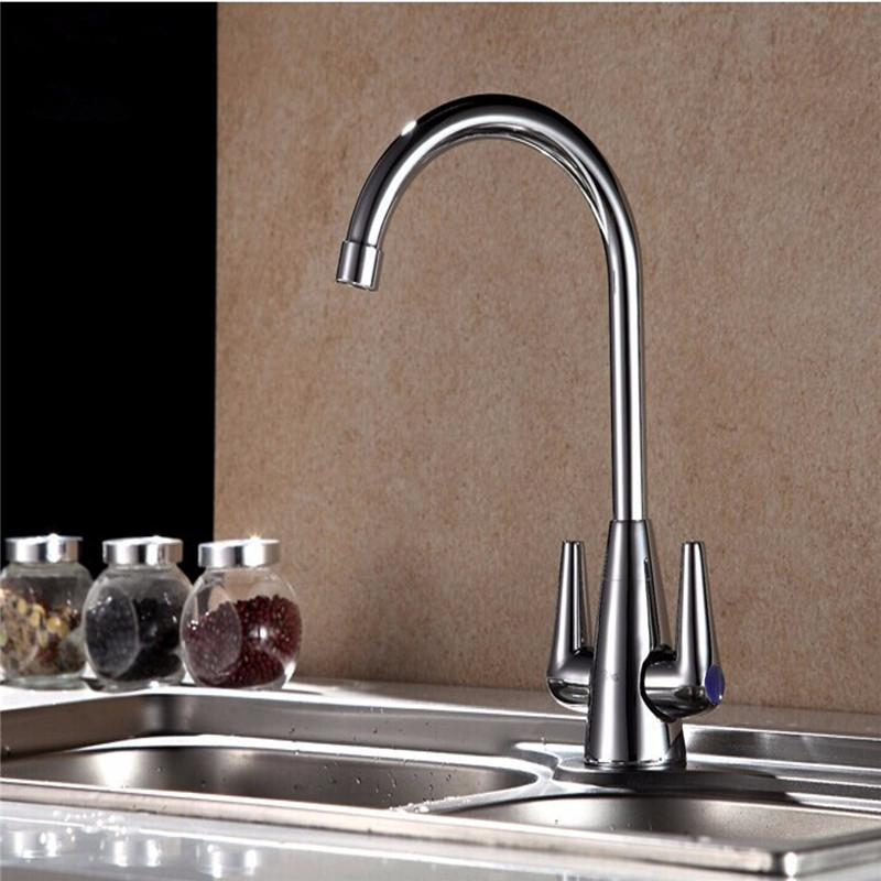 Online Cheap Xueqin Double Switch Copper Kitchen Cold Hot Mix Faucet ...