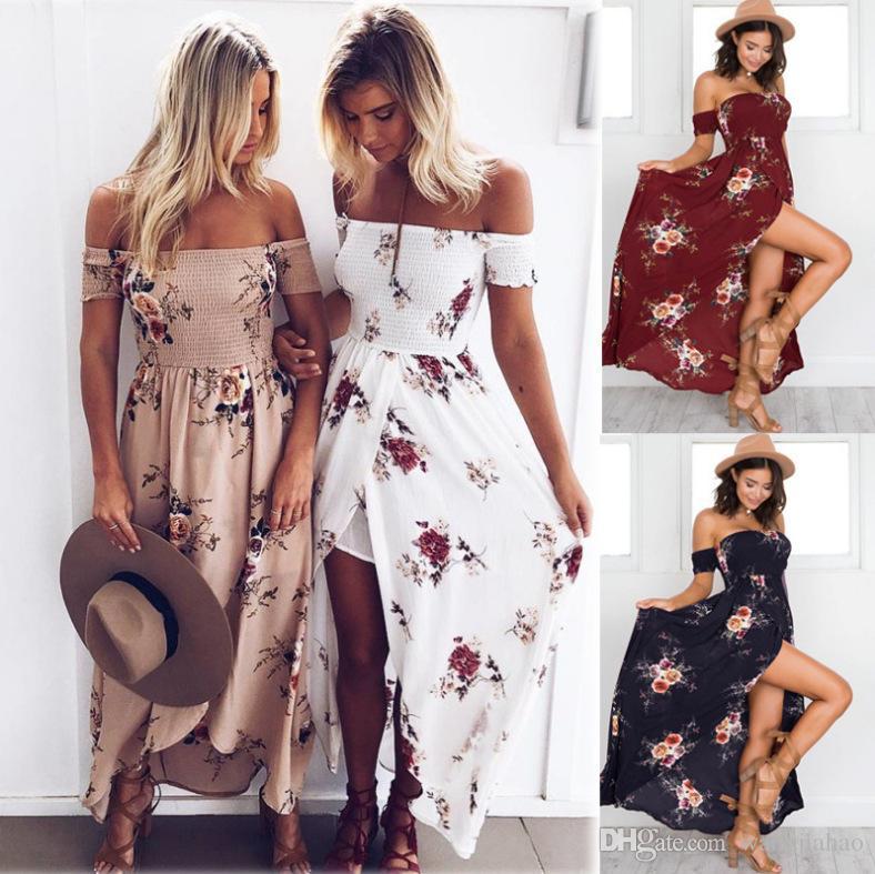 7fdcc9c7d3 5XL Long Boho Dress Sexy Strapless Elastic Print Beach Dress 2018 New  Summer Plus Size Women Clothing Irregular Ball Gown Dress Prom Dress Sale  White ...