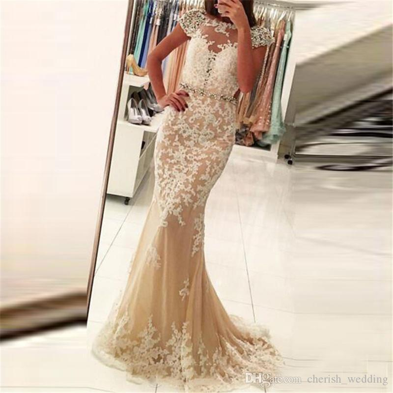 1da5a333f9e Champagne Lace Evening Dresses Mermaid Lace Applique Illusion With Backless  Beaded Sash Tulle Prom Dresses Party Gown Robes De Soirée Plus Size Evening  ...