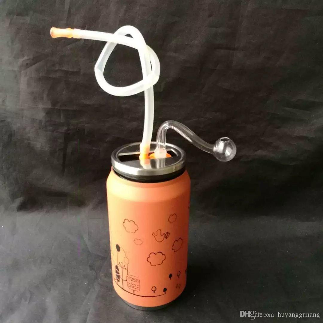 Pipe à eau en acier inoxydable de bande dessinée en gros narguilé en verre, raccords de tuyauterie en verre