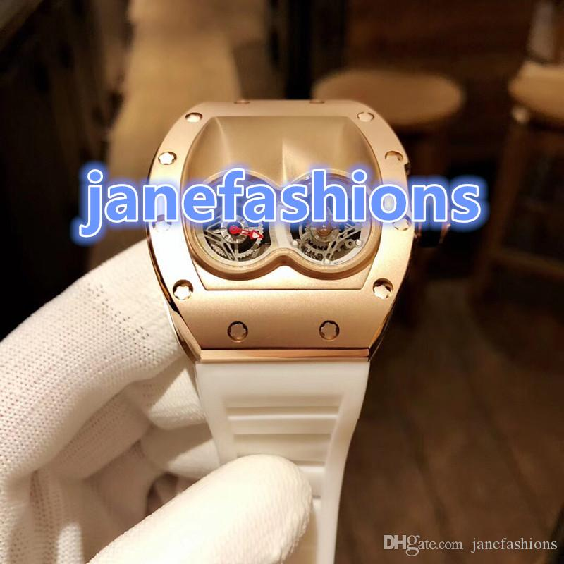 World brand men's fashion wrist watch rose gold double dial luxury personality watches white natural rubber waterproof quartz watches