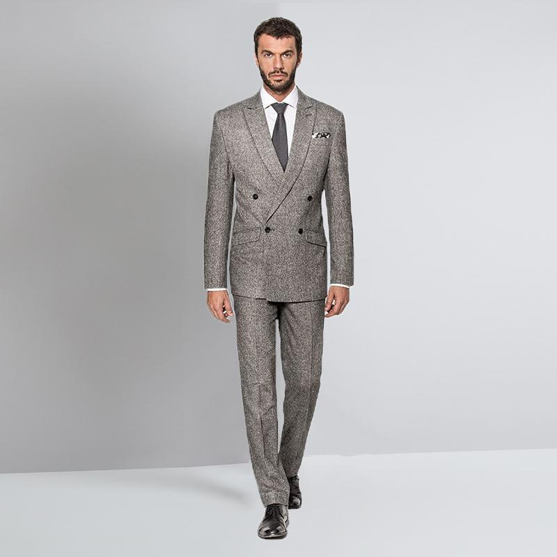 93746f552e19 2019 Custom Grey Suit Tweed Wedding Suits For Men Tuxedo Groom Blazer  Jacket Double Breasted Suit Peaked Lapel Terno Slim Fit From Hongxigua, ...