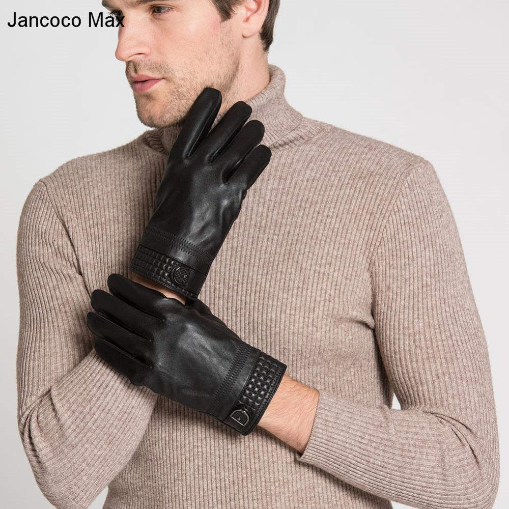 Jancoco Max Genuine Sheepskin Leather Gloves For Men Winter Sport Touch Screen Black Mittens 2018 New Arrival S2053