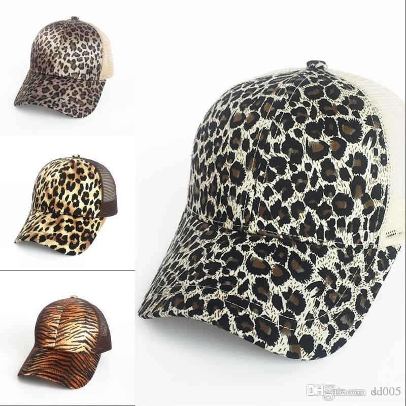 Europe And America Leopard Print Baseball Cap Women Glitter Ponytail Net Hat  Fashion Cotton Blend Snapback Hot Sale 15my WW Leather Hats The Game Hats  From ... af17f6ecd91