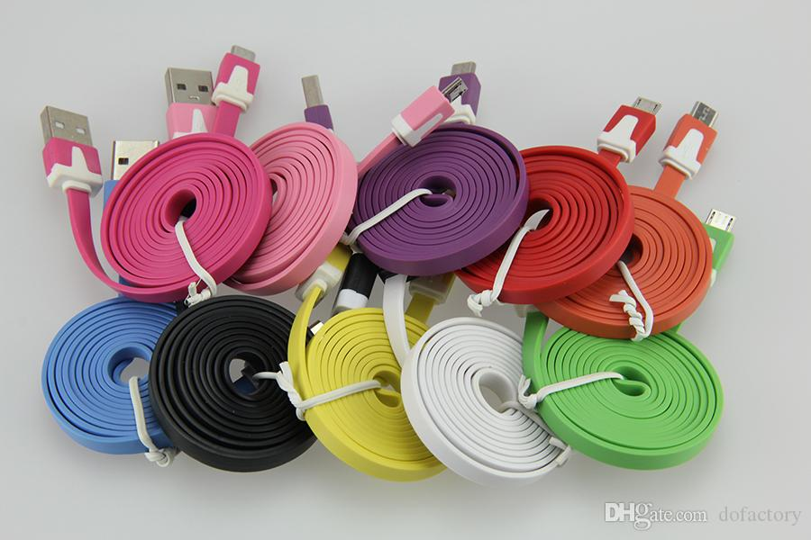 Cell phone 2M Colorful Noodle Flat Cable V8 Micro USB Data Charger Cable For Samsung S6 S7 Xiaomi Micro USB Cable Free Shipping