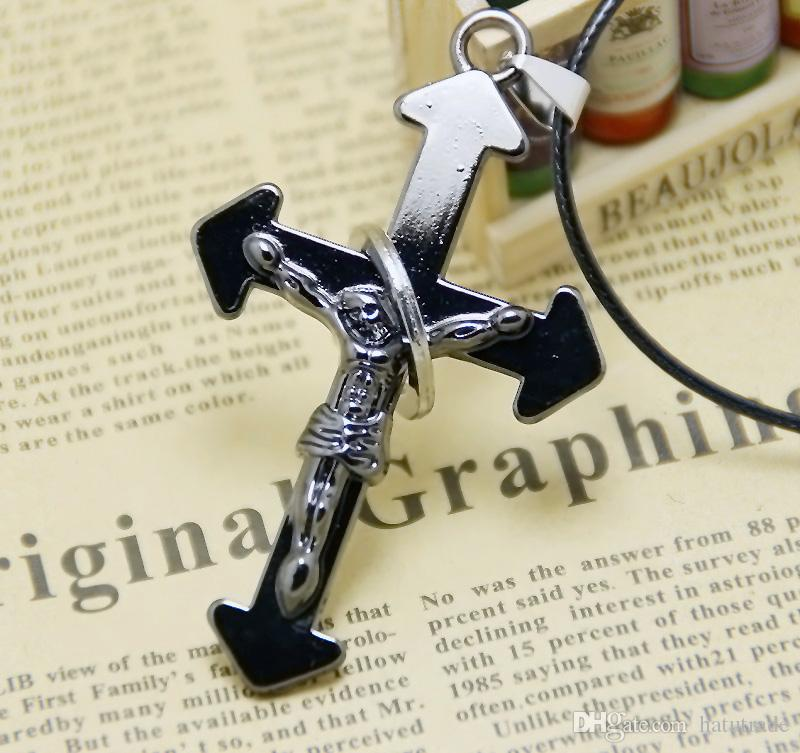 Cool necklace long cross pendant wholesale adjustable chain jewelry popular holiday gifts style necklaces promotion wax rope chain