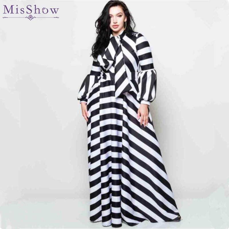 Misshow Plus Size Striped Lantern Sleeve Women Dress Black White Casual  Loose Bowtie Neck Maxi Dress for Women Robe Femme