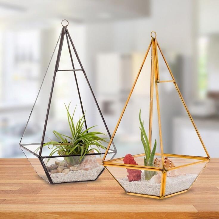 Miniature Glass Terrarium Geometric Diamond Desktop Garden Planter