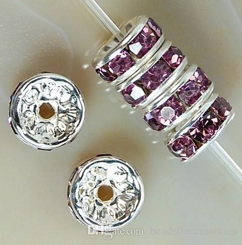 PÚRPURA 200 unids / lote Silver Plated Rhinestone Crystal Round Beads Spacers Beads 6mm 8mm 10mm Crystal Checo perlas