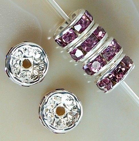 VIOLET / Plaqué Argent Strass Cristal Perles Rondes Entretoise Perles 6mm 8mm 10mm Perles Cristal Tchèque