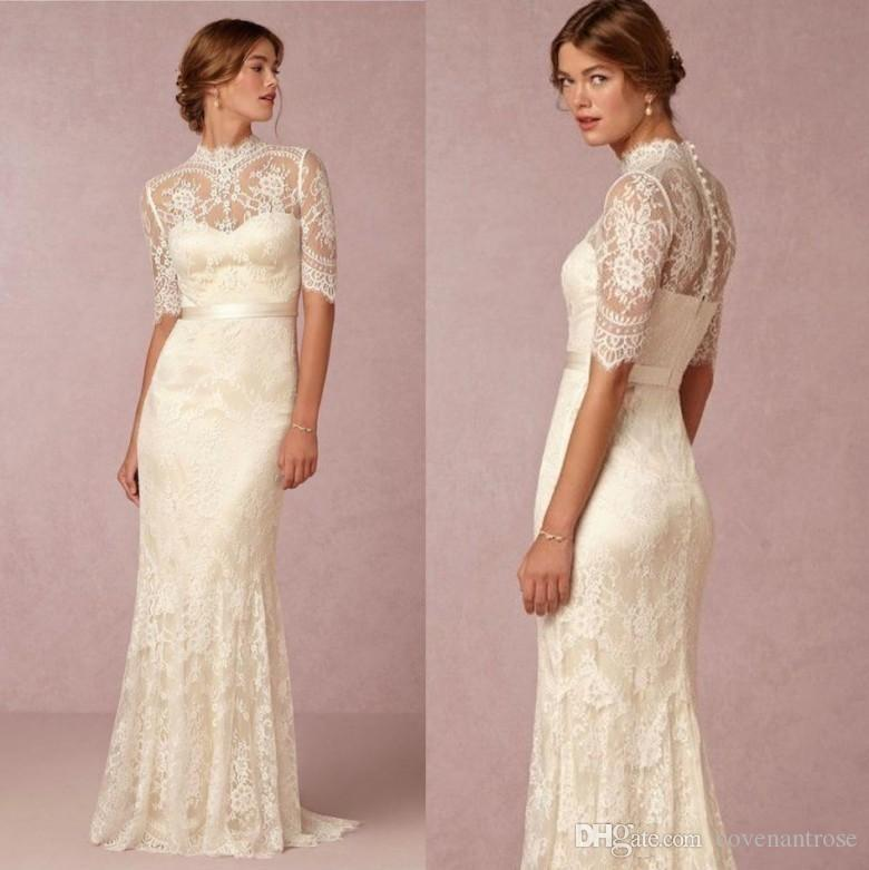 2018 Modest High Neck Sheer Lace Wedding Dresses Long Half Sleeves ...
