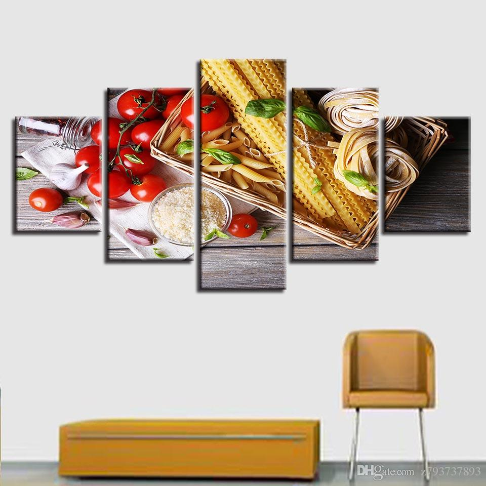 Modern Home Living Room Decor Wall Art 5 Pieces Hd Printing Food Garlic Cherry Tomatoes Painting Posters Modular Canvas Pictures