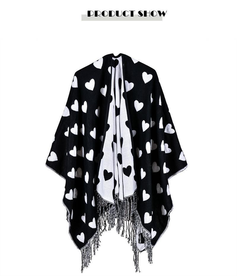 Aorice RS044 2017 new women's classic peach heart tassel shawl fashion faux cashmere thick poncho and cape for selling products