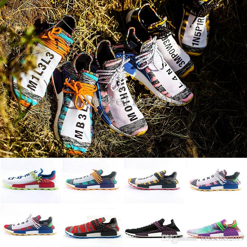 2018 Human Race Creme x Chaussures de course NERD Solar PacK Pharrell Williams Afro Hu