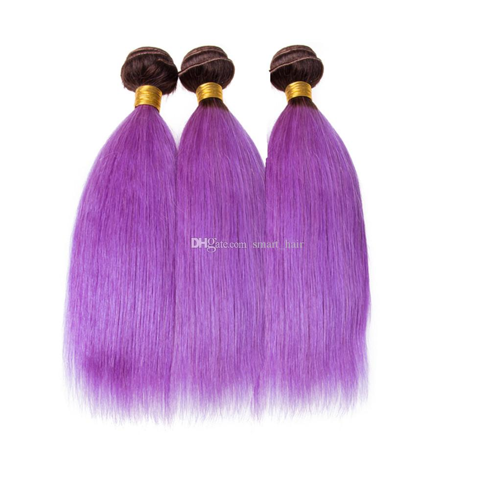Ombre Color 1B Purple Straight Virgin Human Hair Weaves With Lace Frontal Two Tone 1B Purple 3Bundles With Lace Frontal 13x4