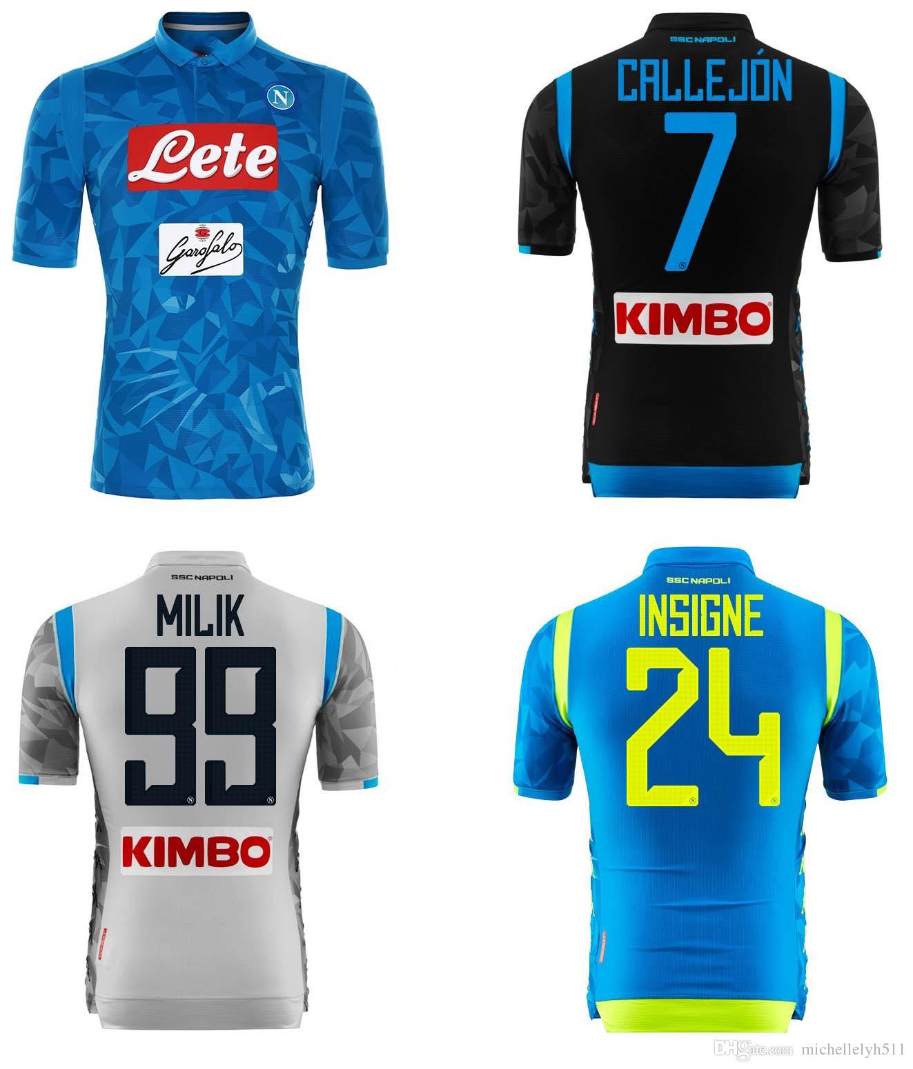 8bb615562a42b 2019 2018 2019 Napoli Soccer Jerseys Naples Home Blue Football Jerseys 18 19  HAMSIK L.INSIGNE PLAYER MERTENS Football Shirts Sport Uniforms From ...