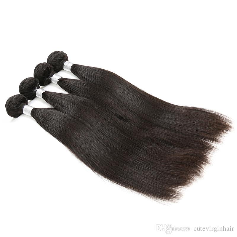 9A Great Quality Human Hair Weave Straight 3 or 4 Bundles Cheap Brazilian Hair Peruvian Malaysian Virgin Hair Wefts Extension 10-30 Inch